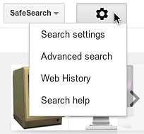 Google Images Options button's list of options