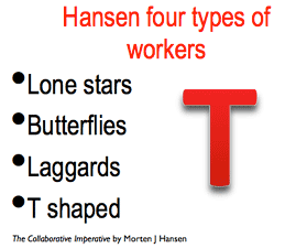 Hansen four types of workers: lone stars, butterflies, laggards, T-shaped.
