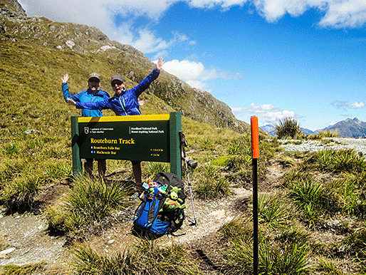 Susie and Shelley celebrate making it to Harris Saddle