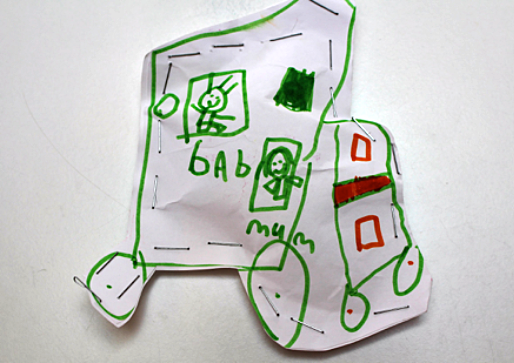 child's car and caravan creation