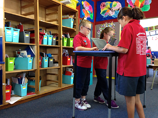 students working at standing desks