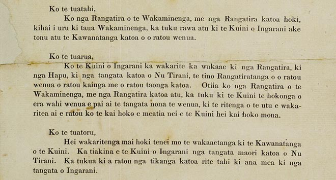 Treaty of Waitangi articles