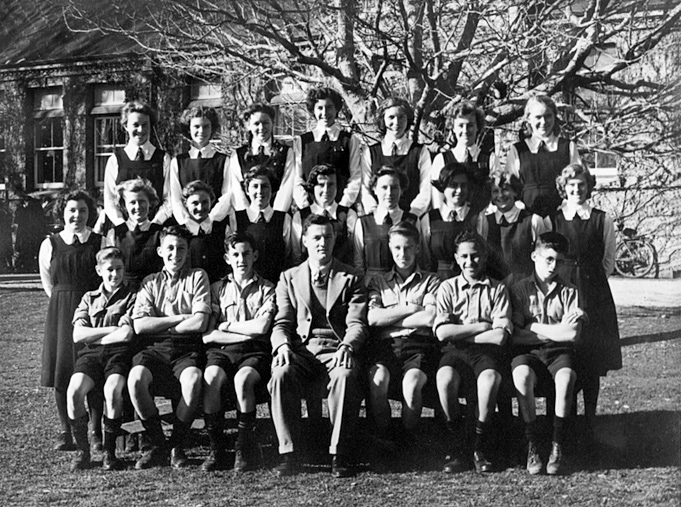 Gisborne High School in the early 1950s. My dad is in the front row - second from right.