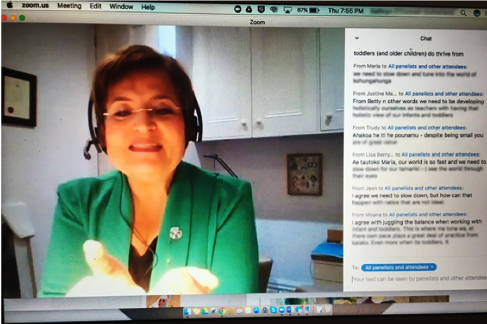 Professor Carmen Dalli (Victoria University of Wellington) engaging directly with ECE kaiako through a webinar.