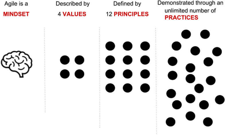 Agile mindset: Agile is a mindset described by 4 values defined by 12 principles, demonstrated by an unlimited number of practices.
