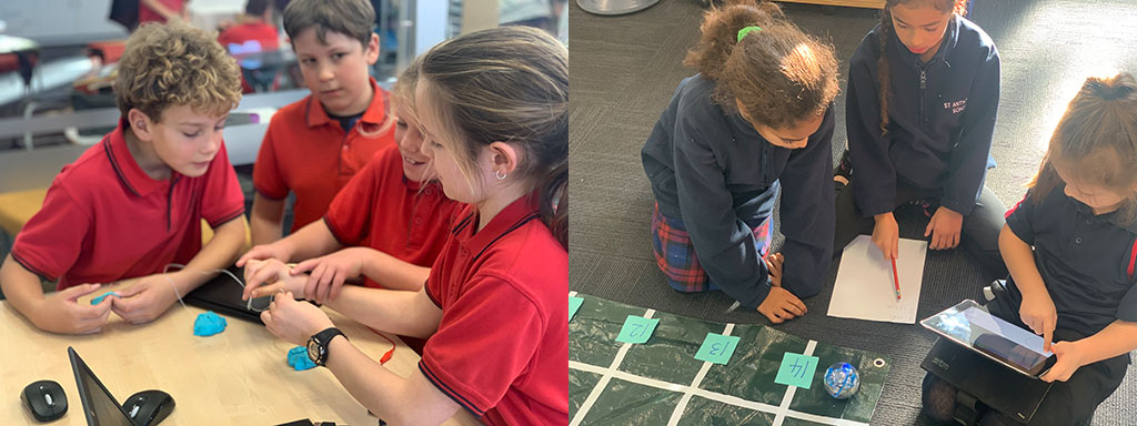 Left image: four students work together using a Micro:Bit. Right: three students use an tablet and paper to program a Sphero robot.