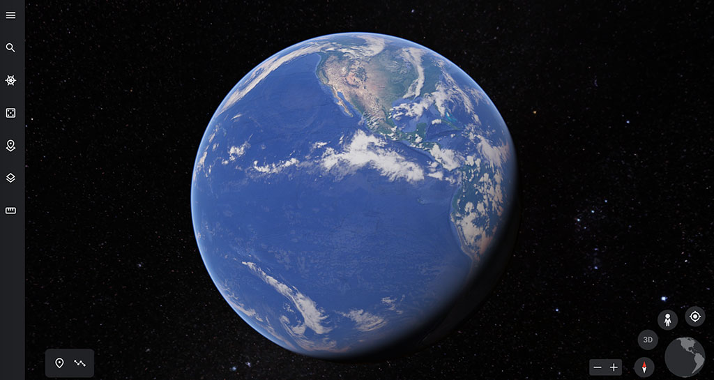 Google Earth image of the world.