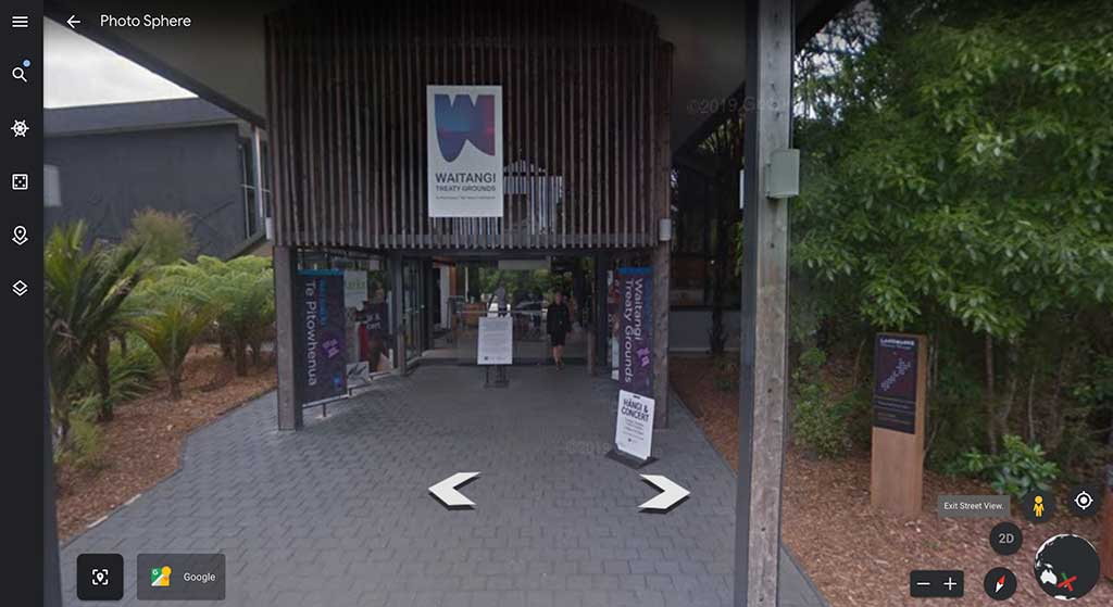 Street view of the Waitangi Treaty Grounds museum on Google Earth.