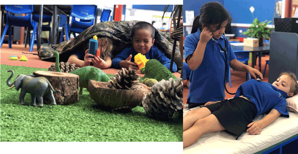 Left: Children hide in the bushes for hunting animals in the wild. This was part of a children's project about guns, from the boys' interest in playing guns. Right: play in the doctor's area where the doctor checks baby's heartbeat