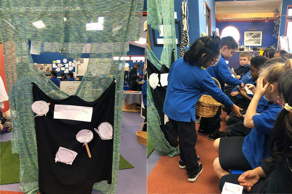 Left: Play curtains prepared by the children for the puppet show. Right: Crew collecting the audience tickets.